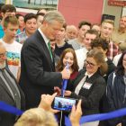 Gov. Charlie Baker and Nashoba Tech Superintendent Dr. Denise Pigeon cut the ribbon for the reopening of the school's Engineering Academy. State grants under Baker's administration helped Nashoba Tech renovate and upgrade the academy. COURTESY PHOTO