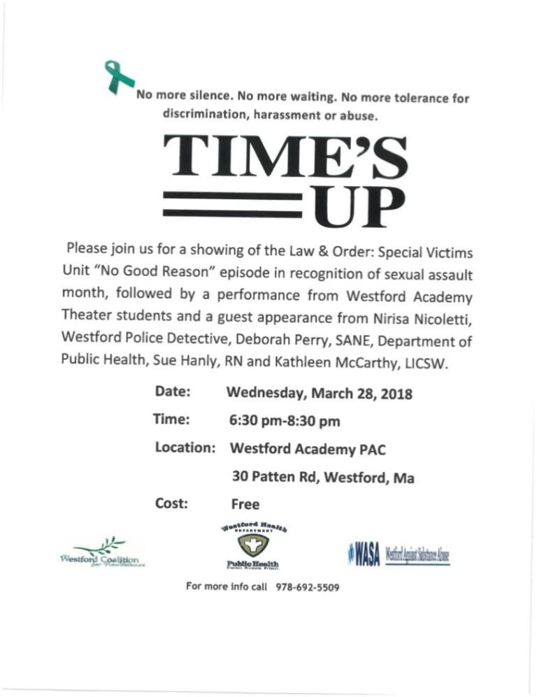 Time's up. Westford Coalition for Non-violdence.