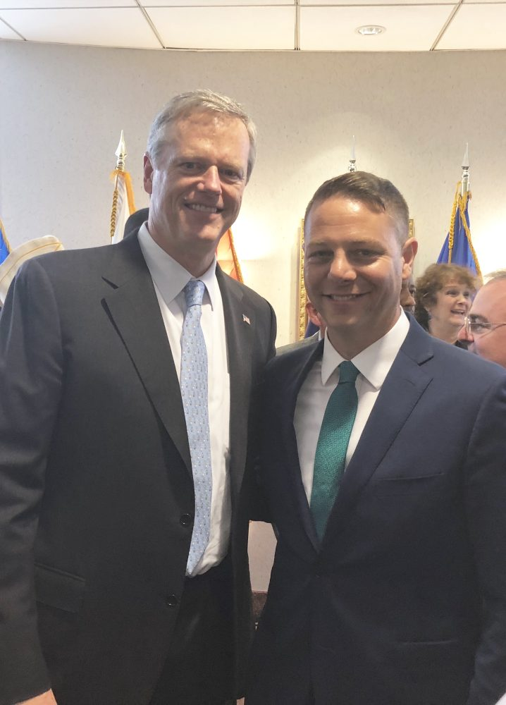State Rep. James Arciero with Massachusetts Gov. Charlie Baker. COURTESY PHOTO
