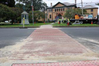 A faux brick crosswalk in Westford center. PHOTO BY JOYCE PELLINO CRANE