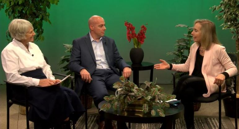On the set of Main Street, News Director Joyce Pellino Crane speaks with Chris Macera, municipal services director for Republic Services, and Ellen Harde, co-chairman of the Recycling Commission. WESTFORDCAT PHOTO