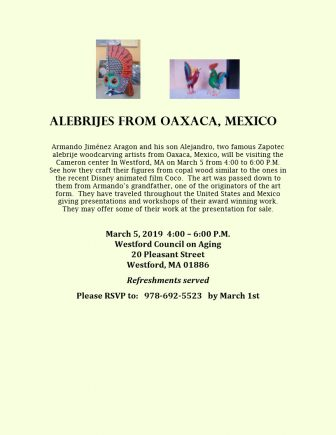 Seniors will meet the creators of imaginary creatures called Alebrijes. COURTESY IMAGE