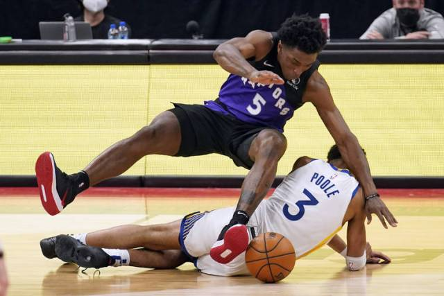 NBA capsules: Raptors rout short-handed Warriors by 53 points, 130-77