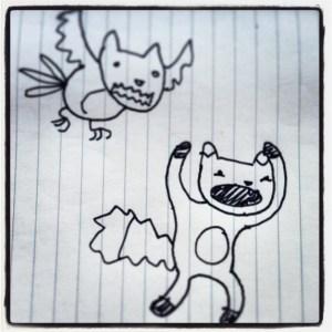 Bird with fox's head attacks Herr Fuchs