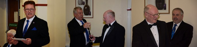 Pictured left: Peter Schofield responds to the fifth toast. Pictured centre: George Fox (left) gives a vocal tribute. Pictured right: Geoff (left), watched by Chris Butterfield, thanks Michael for his toast to the WM.