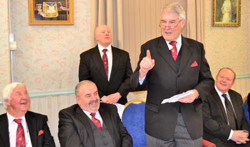 Paul Renton's address is greeted with suitable appreciation. Pictured left to right, are: Jim Wilson, Chris Butterfield, Malcolm Bell, Paul Renton and Jo Emmerson.