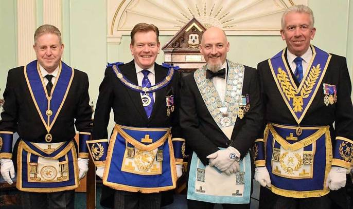 Pictured from left to right, are: Ray Moore, Kevin Poynton, WM Steve Dovaston and Mark Matthews
