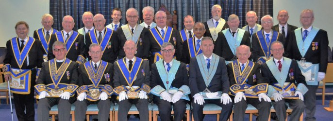 The brethren of Amounderness Lodge gather to celebrate 50 years in Masonry for Barry Seedhouse.