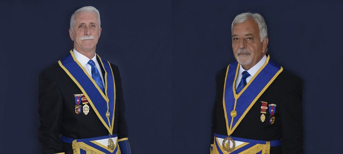 John Karran and Barry Dickinson at Provincial Grand Lodge.