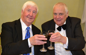 A toast to both of us: Jim Wilson (left) and Frank Hogarth.