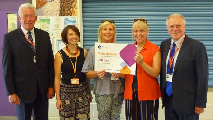 Pictured from left to right, are: Mark Matthews, Emily Frezza, Margerita and Joan (Whitefield School staff) and Derek Parkinson.