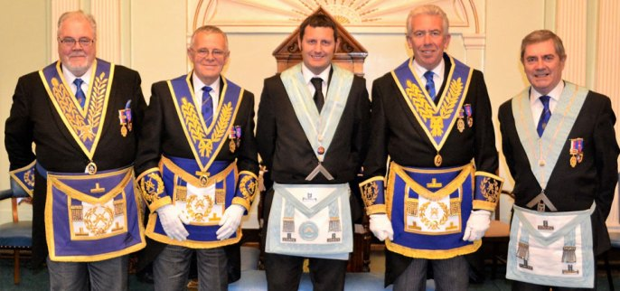 Pictured from left to right, are: Roy Pyne, Colin Jenkins, Lord Bromhead, Mark Matthews and Tony Fennell.