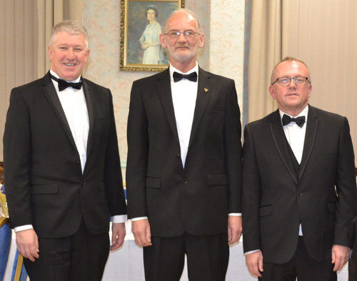 Brethren who delivered the working tools, from left to right, are: John Fretwell, Paul Marshall and Mark Ormerod.
