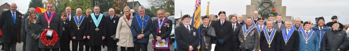 Honouring the fallen, Pictured left, are: Garstang Freemasons and their families. Pictured right, are: Morecambe Freemasons.