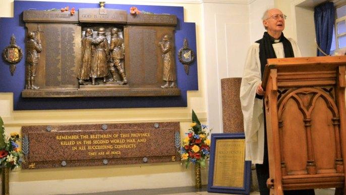 War memorial and Rev Wilfred Alexander.