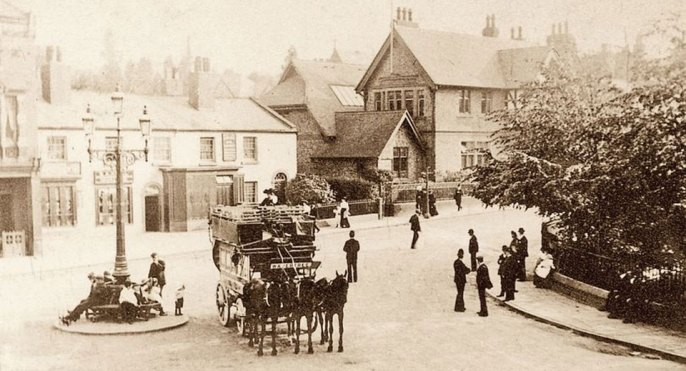 A horse drawn omnibus at Woolton