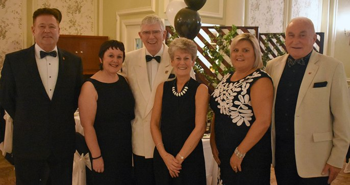 Maureen and I at the 'Black & White Charity Ball' with Michelle and Peter Schofield (left) and Jackie and Richard Wilcock (right).