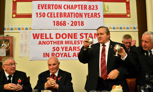 Toast to Stan, pictured from left to right, are: Stan Sutch, Clive Jefferies, Tom McLaughlin, DC Roy Cowley and Bernie Ashley.