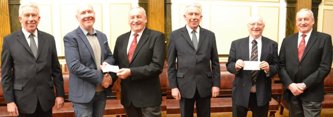 Pictured are Mark Matthews (left) and Sam Robinson (right), with Steve Lyon (left picture) and Dave Sayce of Liverpool Masonic Hall Building Fund (right picture)