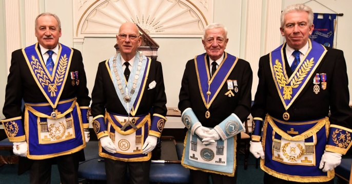 Pictured from left to right, are: Sam Robinson, Arthur Monk, IPM Bob Fisher and Mark Matthews
