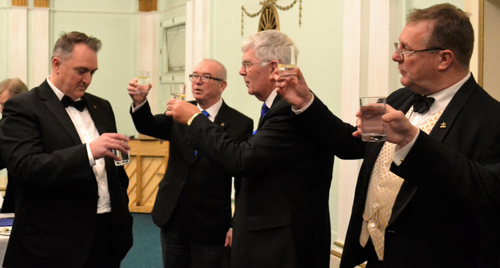 Toast to the WM. Pictured from left to right, are: Alan Ball, Phil Pattullo, Tony Harrison and Ian Turner.