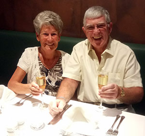 Maureen and I sampling some of the excellent food and wine of Cape Verde.