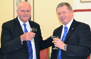 David Winder (left) toasts the health of the new WM David Shaw.