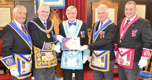 Presentation of the Grand Patron certificate. Pictured from left to right, are; Geoff Bury, Tony Harrison, David Morgan, Simon Hanson and Scott Devine.