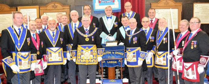 A sparkling collection of grand and Provincial grand officers provide support for the WM David Morgan and IPM Nigel Norris (centre and centre right).