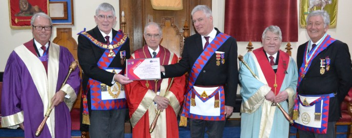The presentation of the 'Patron' certificate. Pictured from left to right, are: Peter Pemberton, Tony Harrison Anthony Woof Jackson, Simon Hanson (group charity steward), Phil Irving and Geoff Bury (regional charity steward).