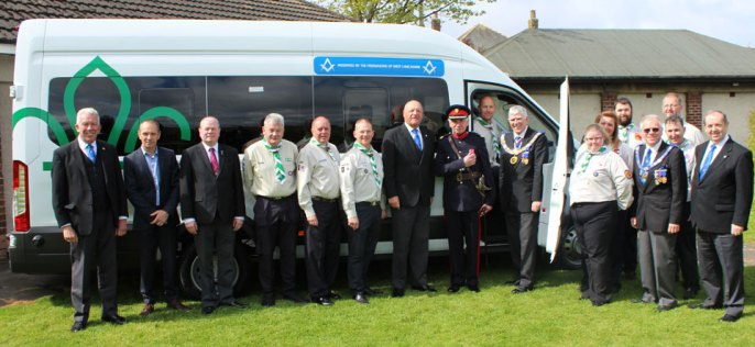 Handing over the new minibus to the Scouts at Blackpool.