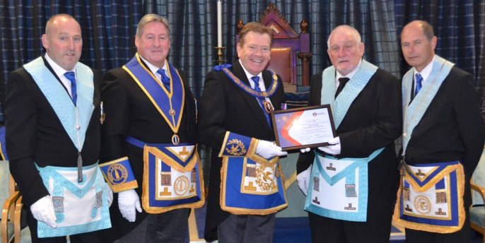 Pictured from left to right, at the presentation of the Vic Patron's certificate, are: Andy McClements, Neil McGill, Kevin Poynton, Trevor Newhouse and Steve Parker.