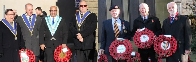 Pictured from left to right: Phil Newby, Roger Nevinson, Matt Neil and Mike Stephenson at Carnforth remembrance service; Alan Physick, Bob Palmer and Malcolm Morrison laying wreaths at Lancaster Cenotaph.