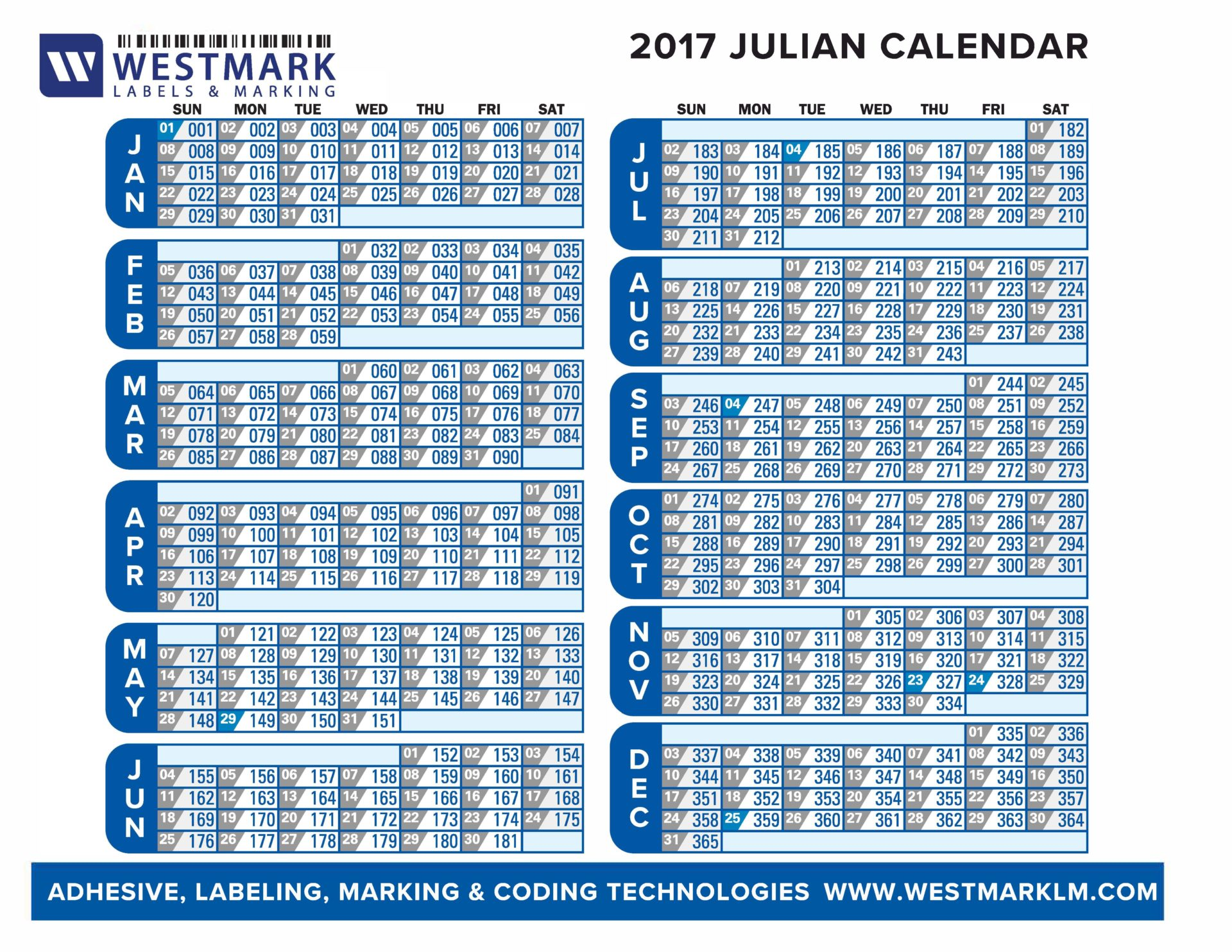 Julian Calendar 2017 Westmark Labels Marking