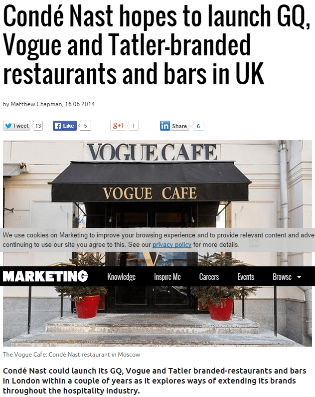 Conde Nast hopes to launch GQ, Vogue and Tatler-branded restaurants and bars in Uk