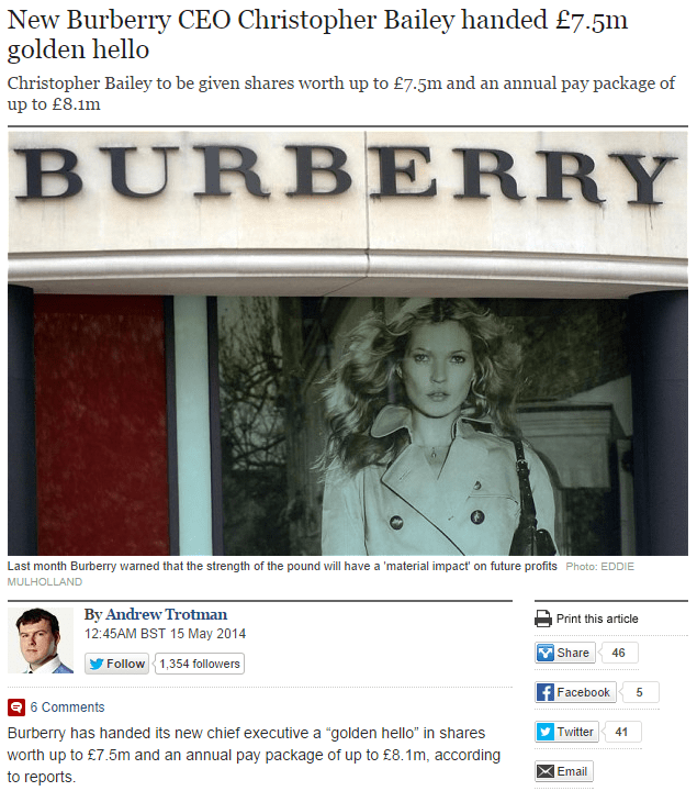 New Burberry CEO Christopher Bailey handed 7.5m golden hello