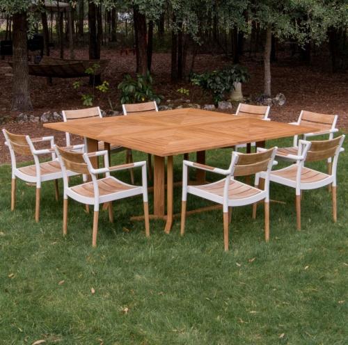large teak dining set for 8 people
