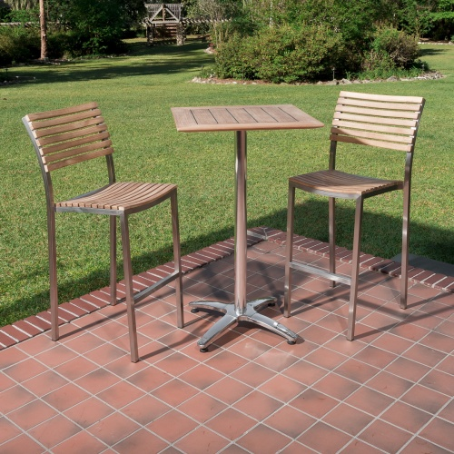 vogue teak and stainless steel high bar set for 2