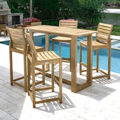 5 ft horizon rectangular teak bar table