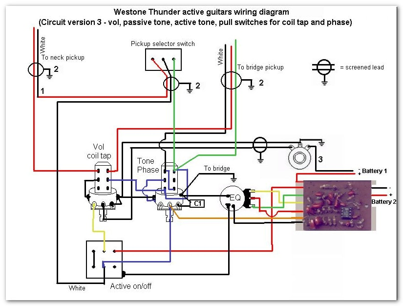 Thunder IIA version 3 Wiring thunder series active models westone guitars the home of westone westone thunder 1a wiring diagram at fashall.co