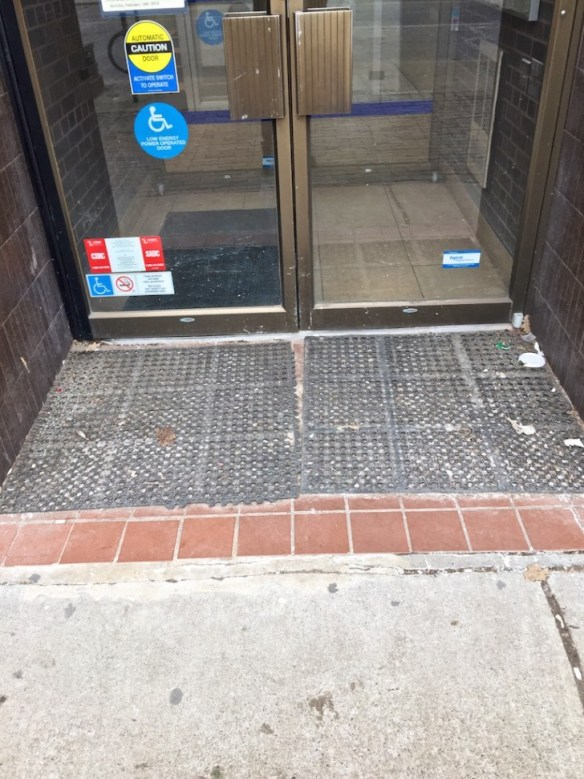 Even the Royal Bank's entranceway is dirty.