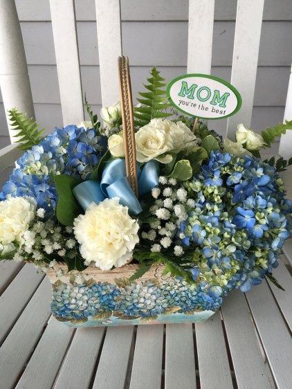 Blue Hydrangea Flower Basket