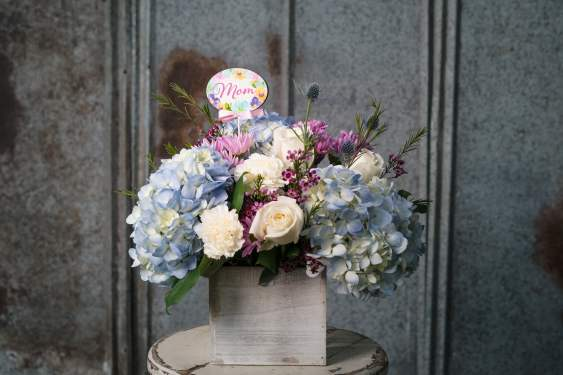 $85. Blue hydrangeas, accented with white roses and wax flower