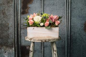 $75. An abundance of blush and ivory , with a touch of Scottish blue thistle creates this sweet box
