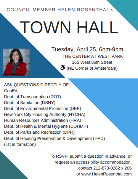 TOWN HALL MEETING with council member Helen Rosenthal   West Park