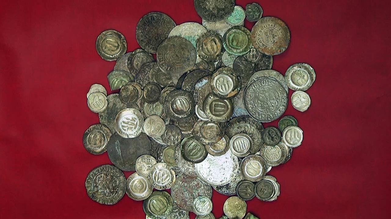 Alte Münzen Und Alte Münze In Einer Ausstellung Tv Westsachsen