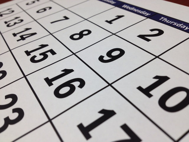 up close photo of calendar