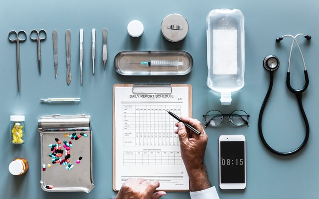 medical supplies arranged on table