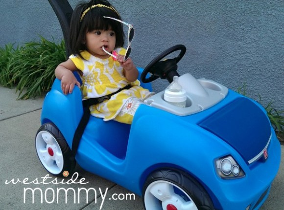 Aria loves riding her convertible in the great LA weather!