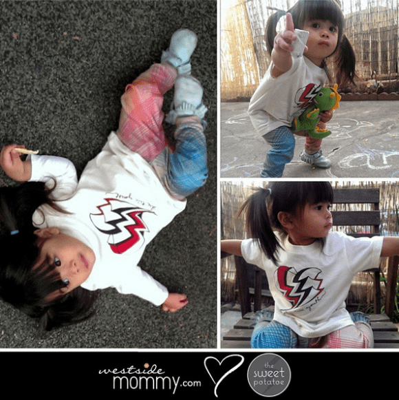 """Westside Mommy Loves The Sweet Potatoe! Aria in """"Laser Legs"""" pants and """"Electric Youth"""" toddler t-shirt"""